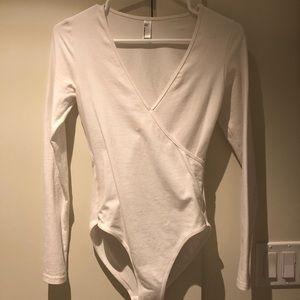 White long sleeve American apparel bodysuit